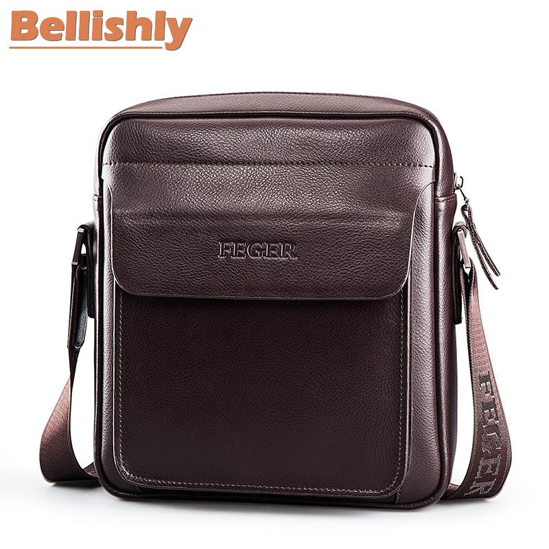 Bellishly Messenger Bag Men's Shoulder Genuine Leather bags Flap Small S male Crossbody bag for man daily natural Leather bags