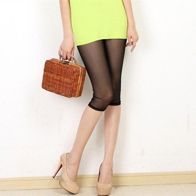 Lato cienkie trzy czwarte spodnie damskie elastyczna siatka legginsy bodycon jeggings duży rozmiar przycięte krótkie spodnie sexy legginsy