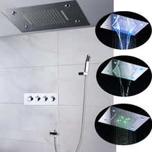 360 x 500 MM Luxury LED Shower Faucets Set 3 Functions System Recessed Large Rain Waterfall Massage Hot And Cold Bath
