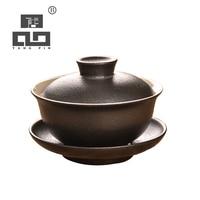 TANGPIN zwarte japanse keramische theepot gaiwan thee cup keramische thee sets kung fu thee set 100 ml-in Theesets van Huis & Tuin op