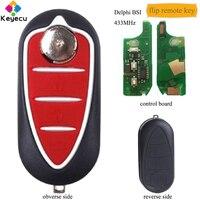 KEYECU Flip Remote Control Car Key With 3 Button & 433MHz & PCF7946 Chip FOB for Alfa Romeo Mito 2008 Delphi BSI System