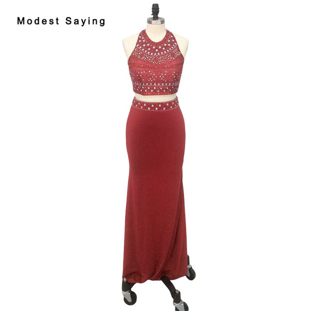 1d0001e788f9 Real Picture Elegant Dark Red Mermaid Beaded Crop Top Prom Dresses 2018  with Rhinestone Party Prom Gowns vestido de formatura