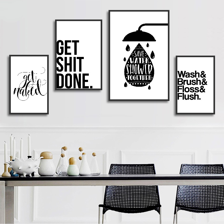 Bathroom Fun Words Nordic Decorative Toilet Personality Ideas Canvas Painting Unframed Wall Art Prints Calligraphy Aliexpress