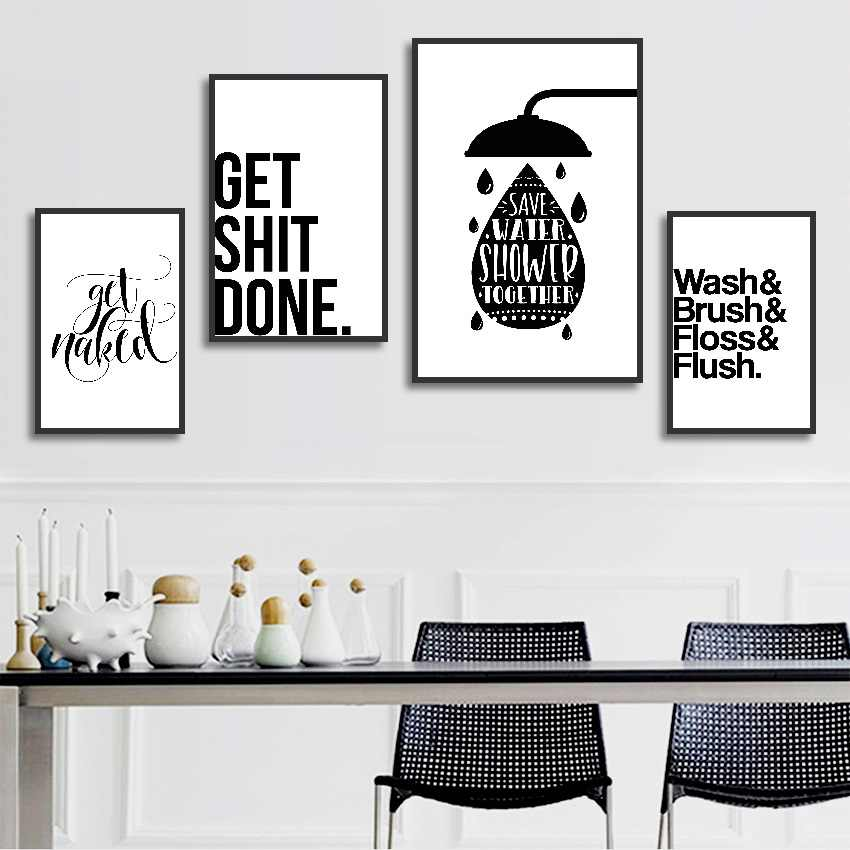 Bathroom Fun Words Nordic Bathroom Decorative Toilet Personality Ideas Canvas Painting Unframed Wall Art Prints Painting Calligraphy Aliexpress