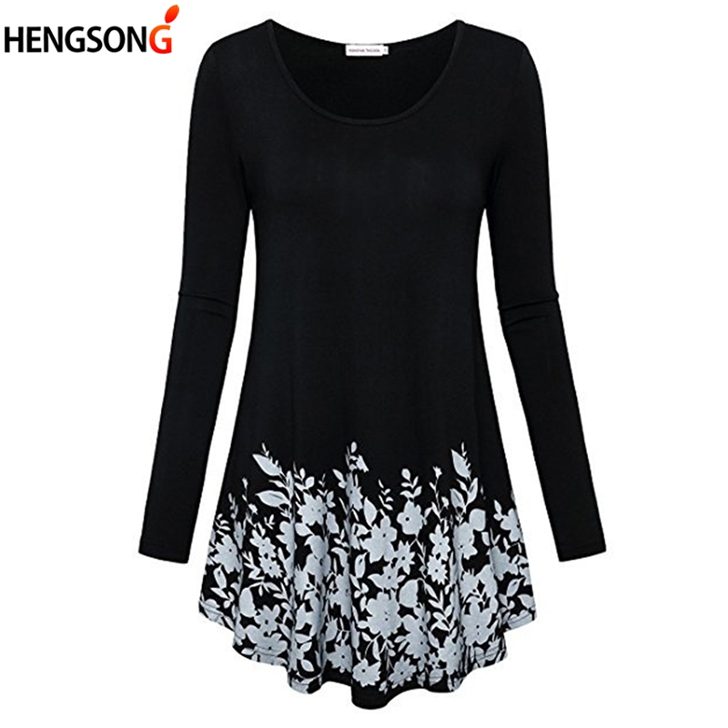 new women Long-sleeved bottom shirt printing top tees round neck T-shirt medium length casual loose female T-shirt