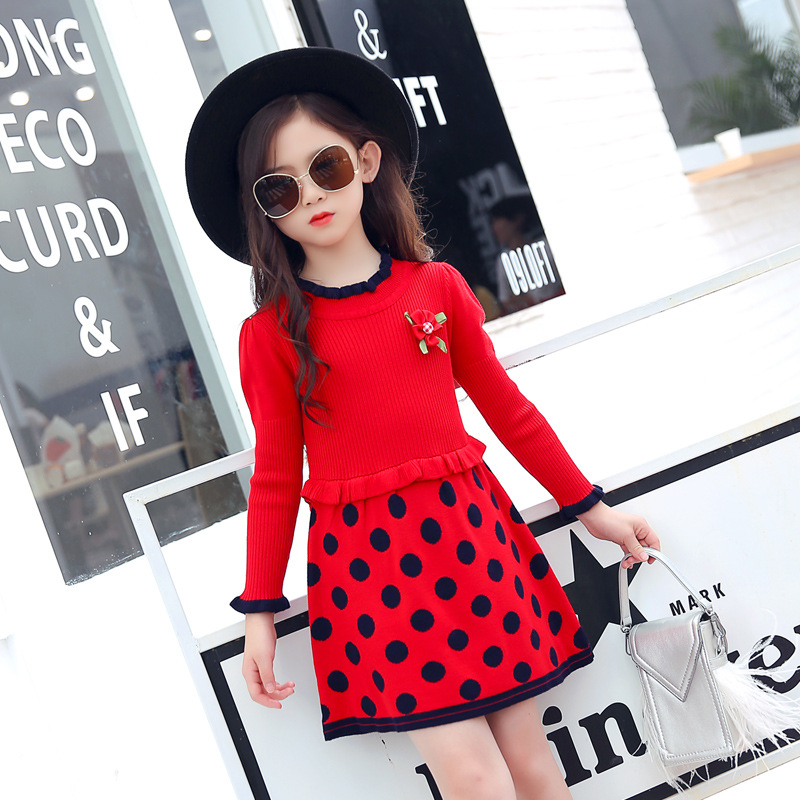 Sweater Dress For Girls Teenager 2018 New Fashion Autumn Winter Kids Dresses For Girls Long Sleeve Dot Christmas Dress 8 9 10 12 autumn winter kids girls knitted dress with bows long sleeve kids princess dresses for girls cotton sweater dress