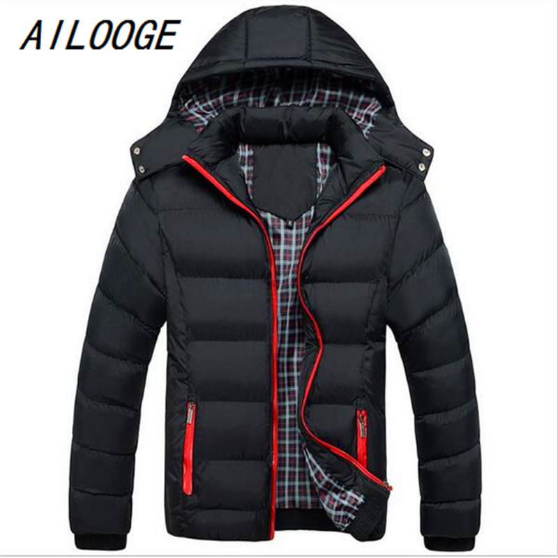 AILOOGE 2017 New Fashion font b Men b font Hoody Winter Coats Male Hooded Plus Size