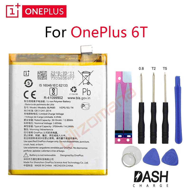 ONEPLUS Original Phone Battery For Oneplus 6T A6010 BLP685 3610/3700mah High Quality Replacement Li Ion Batteries Free Tools