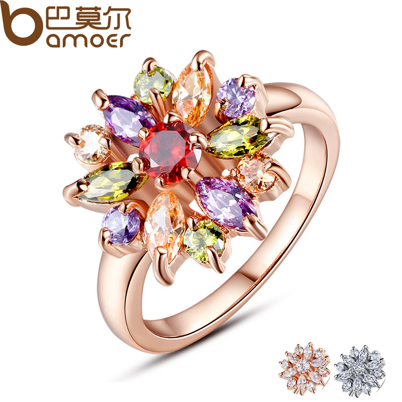 BAMOER 3 Colors Rose Ring Color Finger Ring for Women with AAA Multicolor Cubic Zircon Dasma Berloque # 6 7 8 9 JIR031