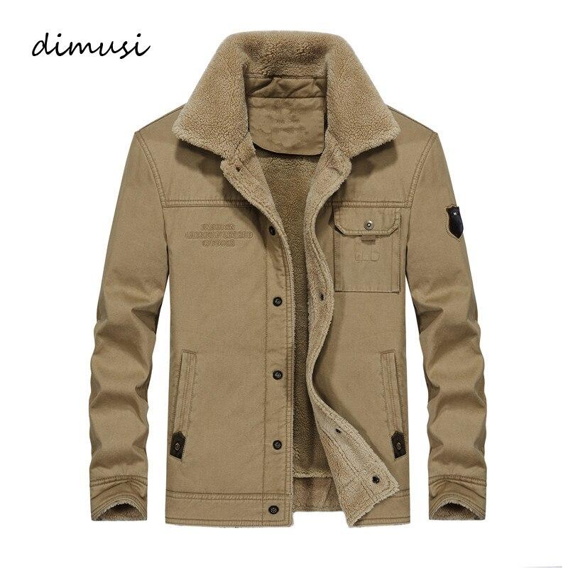 DIMUSI hiver Bomber veste hommes coton polaire épais chaud manteaux mâle fourrure col armée tactique Outwear coupe-vent vestes, TA195