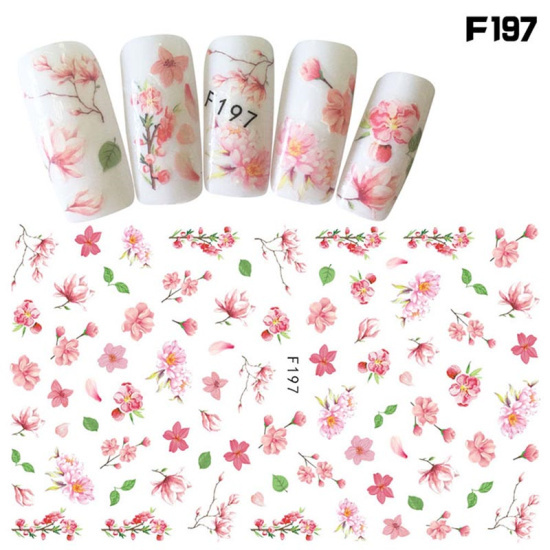 1pcs Hot Nail Sticker Flower Water Transfer 3D Nail Adhesive Decals Black Lavender Floral Decor Nail Accessory