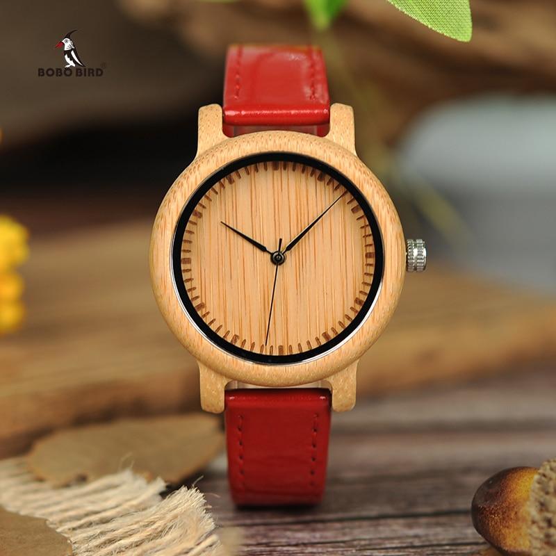BOBO BIRD 38mm Ladies Bamboo Watches Pu Leather Band Women Japan Movement Quartz Wristwatches Relogio Feminino Drop Shipping