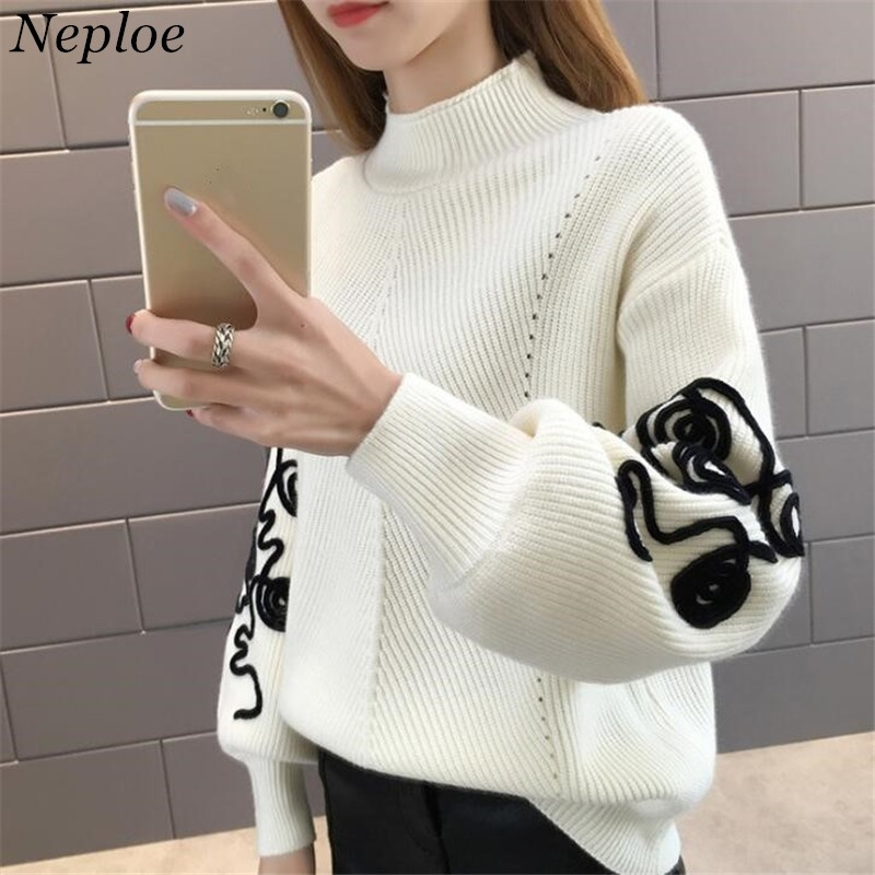 Neploe Sweater Women Korean Pull Femme Hiver Jumper Crochet Puff Sleeve Pullover Sueter Mujer Turtleneck Knitted Sweaters 36816
