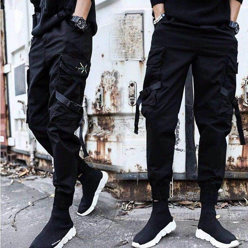 Streetwear Ribbons Casual Pants Men Black Slim Mens Joggers Pant Side-pockets Cotton Man Trousers Clothes For Men Jeans Costumes