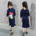 Nova Girl Dress Cute Cartoon Duck Pattern Hooded Sort Comfortable Baby Costume Casual Sweater Long Dress For Cosplay Party 3-7Y