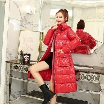 Lange Regenjacke   2019 Neue Frauen Winter Baumwolle Jacke Mode Wilden Helle Gesicht Regen Casual Mit Kapuze Äußere Dicke Warme Mantel Tq110