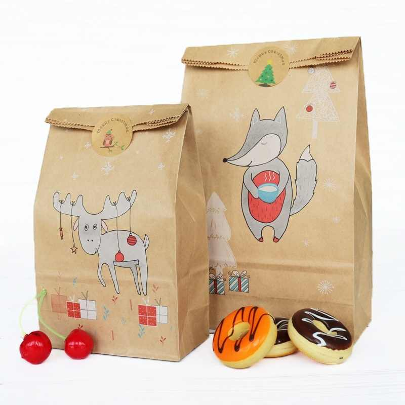 12pcs/set New Kraft Paper Baking Bag for Christmas Candy Snacks Paper Bags Gift Bags