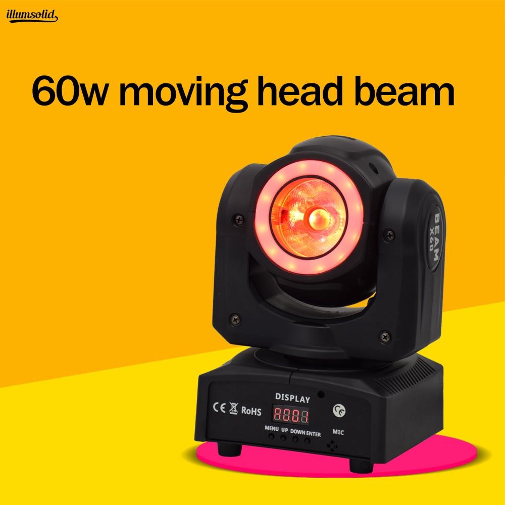 Mini High Brightness 60w Rgbw Beam Led Moving Head Stage Light With Halo