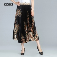 XJXKS 2019 Harajuku Festival Women Print Skirts High Waist Spring Comfortable Clothes High end Women Korean Skirt Free Shipping
