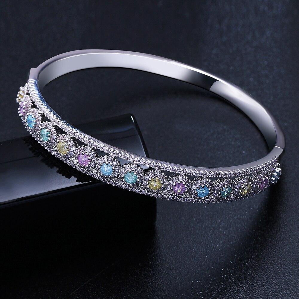 2019 модный браслет проложить круглый вырез синий розовый оливин многоцветный Цирконий pulseira feminina Роскошные браслеты и браслеты