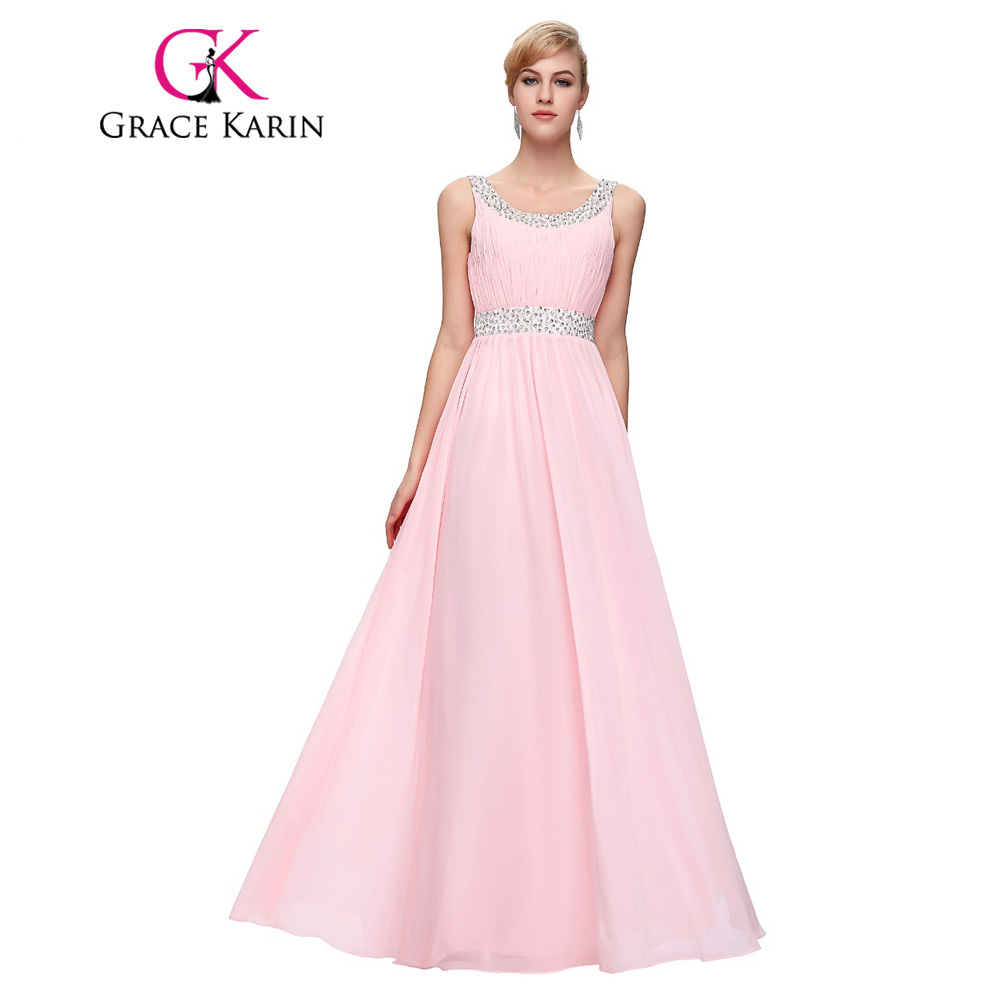 grace karin pink bridesmaid dress robe robe de soiree longue sleeveless chiffon chiffon. Black Bedroom Furniture Sets. Home Design Ideas