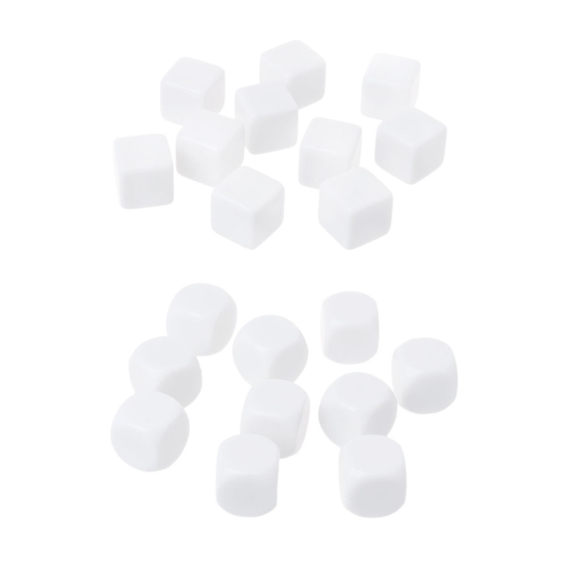 10Pcs/Set Blank Dice 16mm Acrylic Die Family Party DIY Games Write Printing Kid Toys Fun
