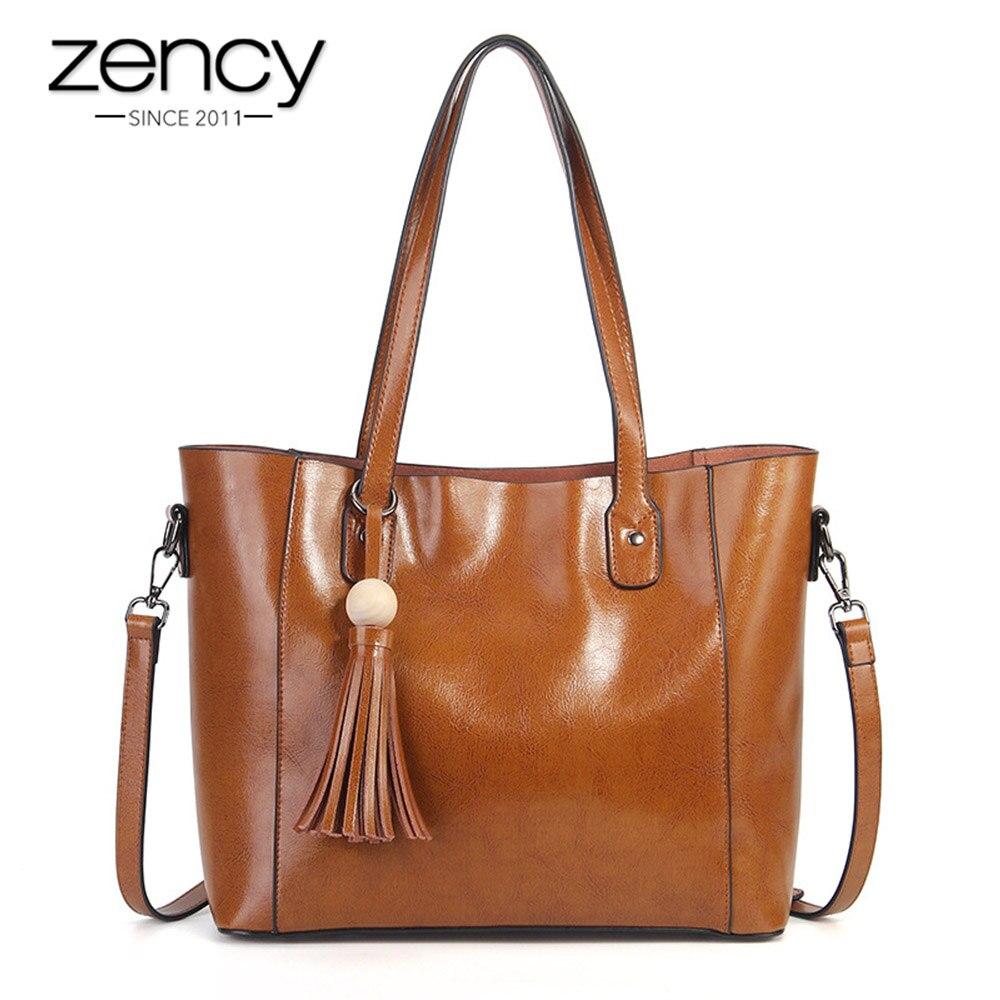 Zency Large Capacity Women Shoulder Bag With Tassel 100 Genuine Leather Tote Handbag Fashion Brown Black