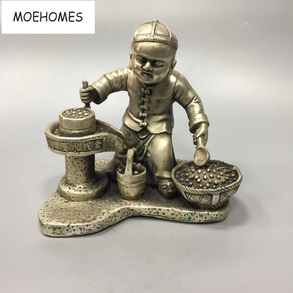 MOEHOMES China Tibet Silver Ancient Bring good luck and get rich by diligence statue Ornament metal crafts home decorationMOEHOMES China Tibet Silver Ancient Bring good luck and get rich by diligence statue Ornament metal crafts home decoration