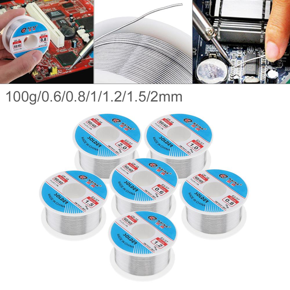 0.8mm-2.0mm 100g 60/40 Rosin Core Tin Lead Solder Wire Soldering Welding Flux 2.0% Iron Wire Reel For Electric Soldering Iron