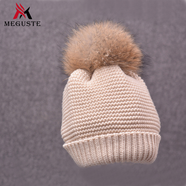 Meguste Natural Raccoon Fur Pompon Hat Thick Winter Women Cap Beanie Hats Knitted Caps Female skullies beanies
