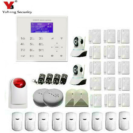 Yobang Security 2.4G WiFi GSM SMS Home Security Burglar House Alarm Multi Camera Surveillance Glass Break Sensor Smoke Alarm Kit