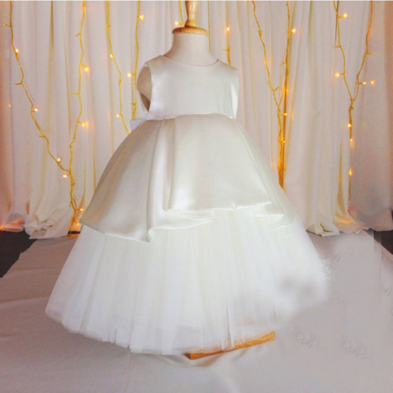 Satin First Communion Dresses for Girls A-Line Mother Daughter Dresses with Bow Ankle-Length Flower Girl Dresses for Weddings a line knee length taffeta sleeveless flower girl dress for weddings jewel neck princess girls satin mother daughter dresses