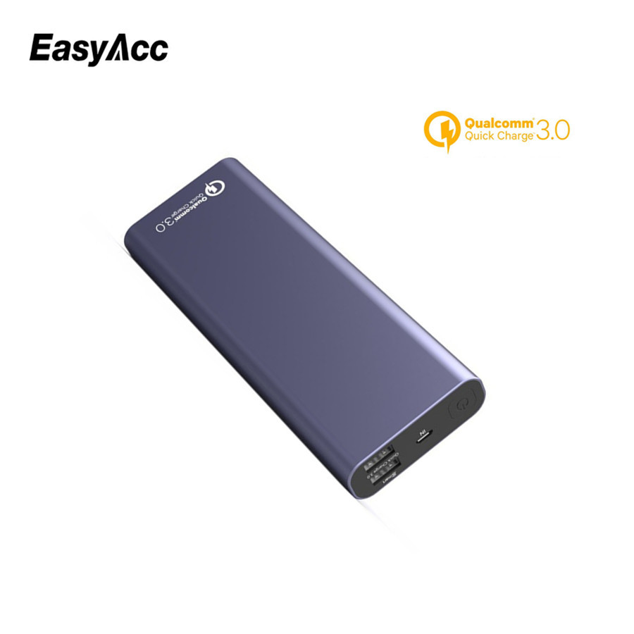 20000mAh Power Bank For Xiaomi,Easyac 5V/2.4A QC3.0 Dual USB Port 18650 External Battery Fast Charger Powerbank Universal
