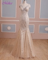 Dreagel Hot Sale Luxury Beaded Crystal Long Evening Dresses 2017 Sexy V Neck Backless Formal Party