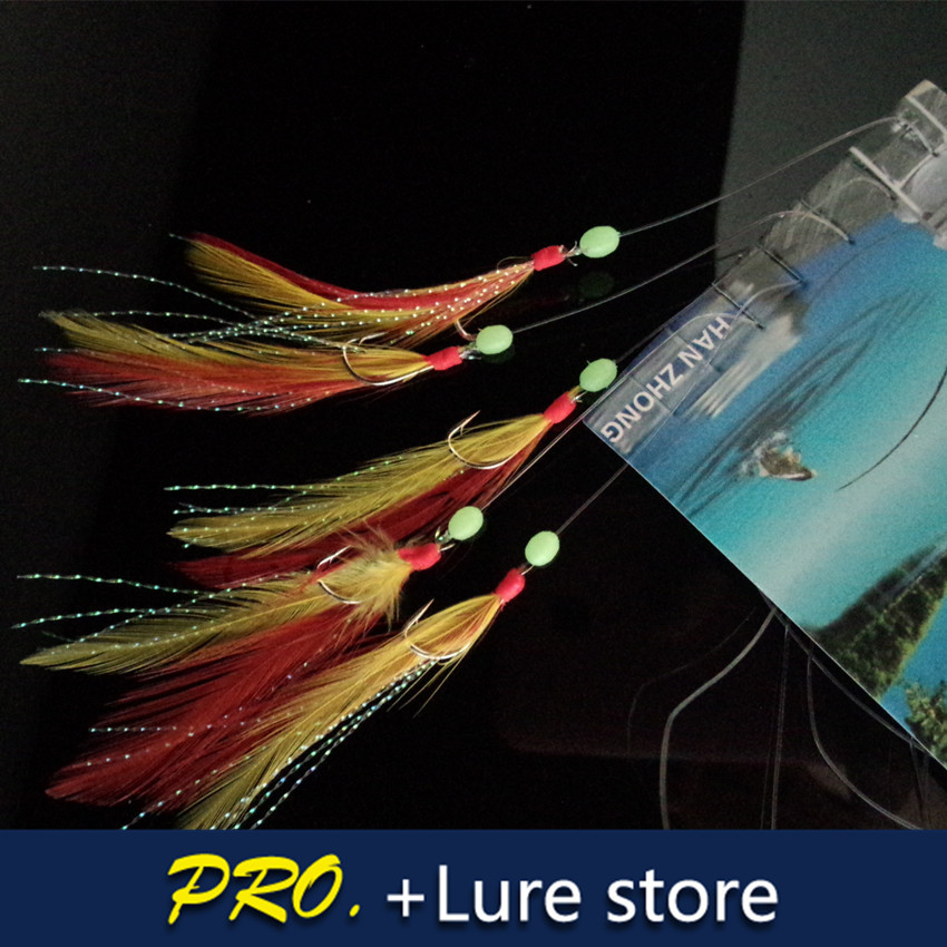 20 bags fishing lure sabiki lure baits feather tail rig for Sabiki rig fishing