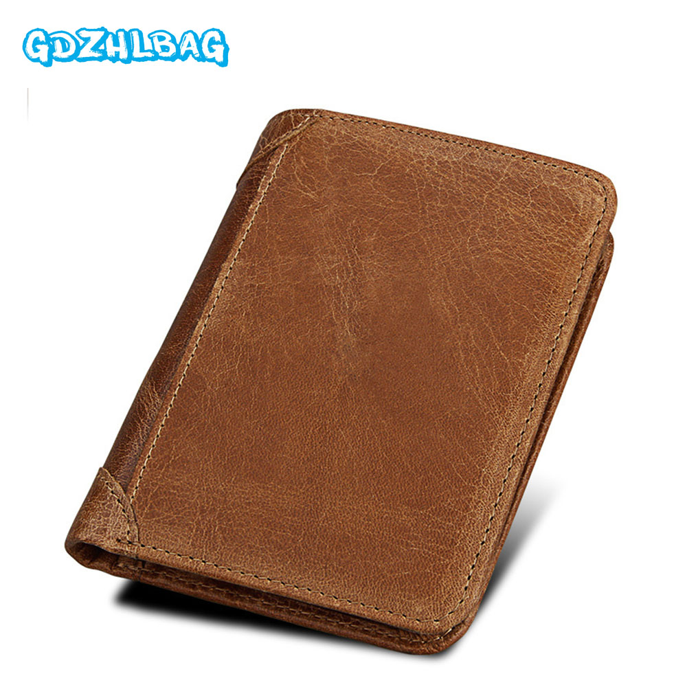 GDZHLBAG Fashion Wallet Coin Purse Genuine Leather Men Wallet Portomonee Business Card holder Luxury Brand Rfid Walet B180