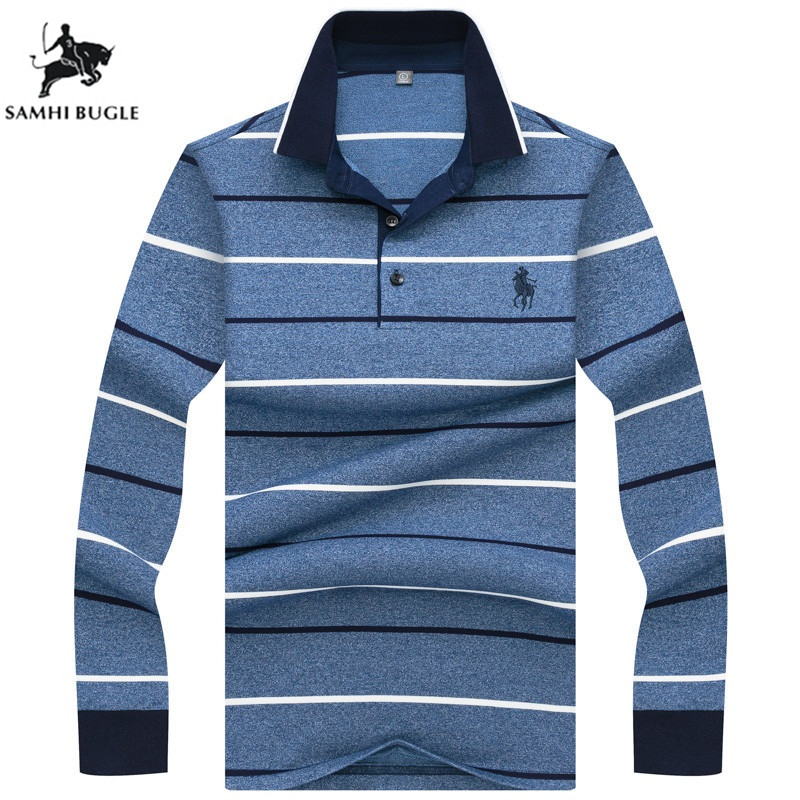 2019 high quality men   polo   shirt business casual striped long sleeves Wrinkle resistance stripe   polo   shirt brand clothing