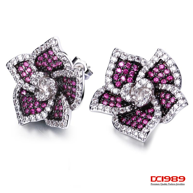 DC1989 Women Flowers Copper Stud Earrings Synthetic Red Green Montana Synthetic Cubic Zircon Paved Silver Pins Graduation Gift