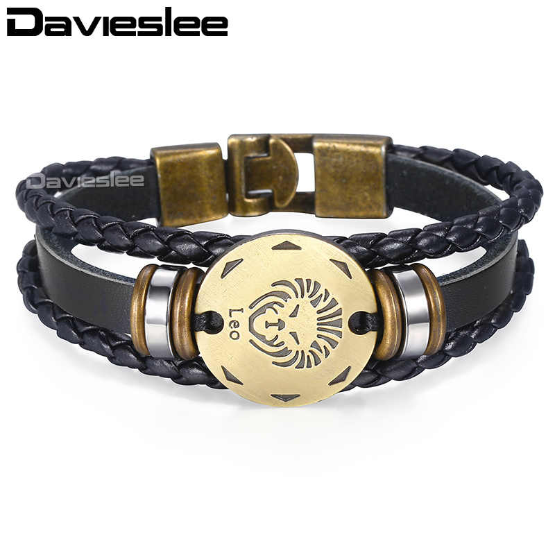 Davieslee 12 Zodiac Sign Horoscope Leather Bracelet For Men Vintage Retro Charm Men's Bracelet Male Jewelry 2018 Gifts LLBM136A