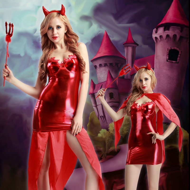 Female Demon Costume Cosplay Dress Devil Role Play Suit Red Halter Push Up Cup Dress for women demon uniform outfit 9925