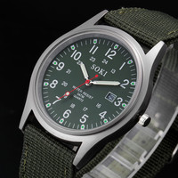 Heißer Verkauf Outdoor Herren Datum Edelstahl Militär Sport Analog Quarz Armee Armbanduhr Dropshipping 0803