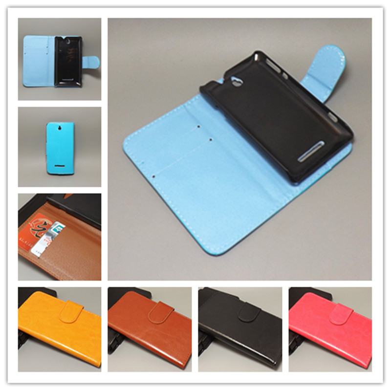 Crazy horse wallet case hold two Cards with 2 Card Holder and pouch slot For Sony Xperia E dual C1605 C1504 c1505