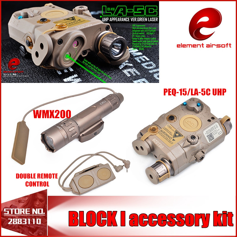 Element Airsoft Flashlight SF PEQ LA-5C BLOCK II IR and Green Laser Tactical Light Combo With Remote Light Tail Switch EX424 HOT laser head sf hd88 rns510 m5