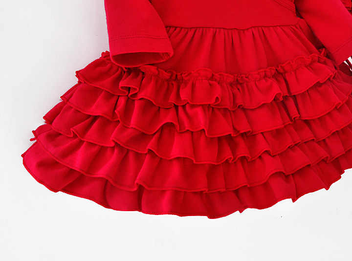 Baru Musim Gugur Bayi Gadis Kapas Ruffles Gaun dengan Merah Merah Muda Putri Gaun Set Bayi Gadis Pakaian Lahir Hadiah 3 M 6 M 9 M