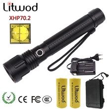 Litwod Z901446 LED flashlight CREE XHP70.2 high powerful 50000LM Tactical waterproof Comping torch light 18650&26650 Lantern(China)