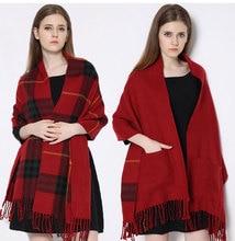 2016 Winter Womens Scarfs Fashionable Cashmere Dual Use Wool Shawls And Scarves Plaid Tassel Tartan Vintage