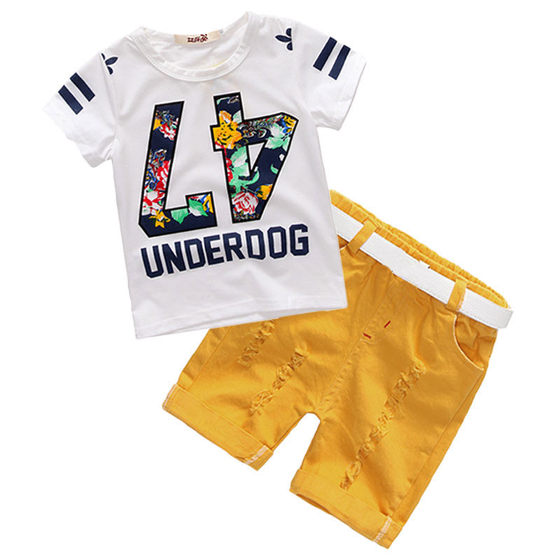 AiLe-Rabbit-Summer-Children-s-Clothing-Set-Boys-T-Shirts-Shorts-Belt-3pcs-Suits-Bow-Pants