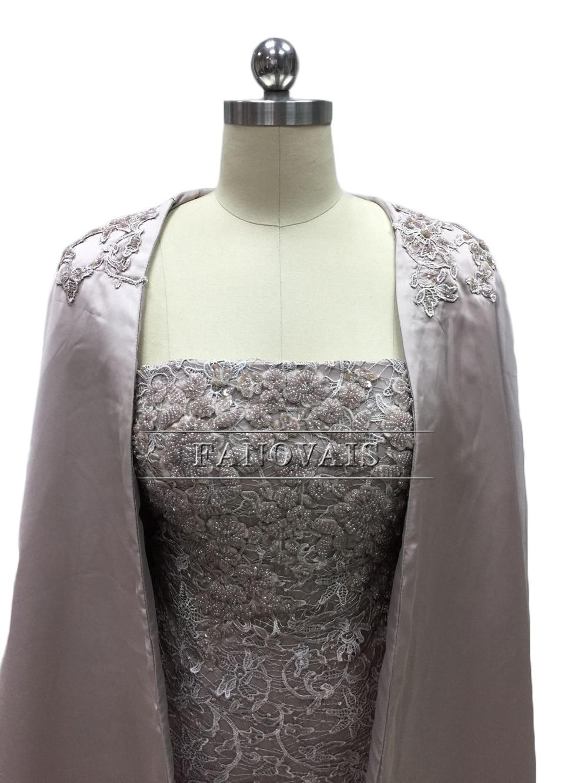 Elegant Stroppeløs Blonder Cocktail Kjoler med Lang Frakk Spesial - Spesielle anledninger kjoler - Bilde 5