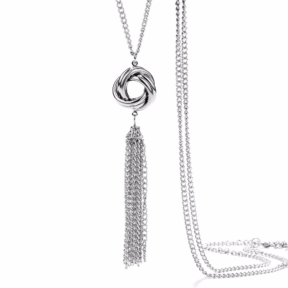 Onnea Long Silver Tone Lovely Knot Tassel Necklace Fashion