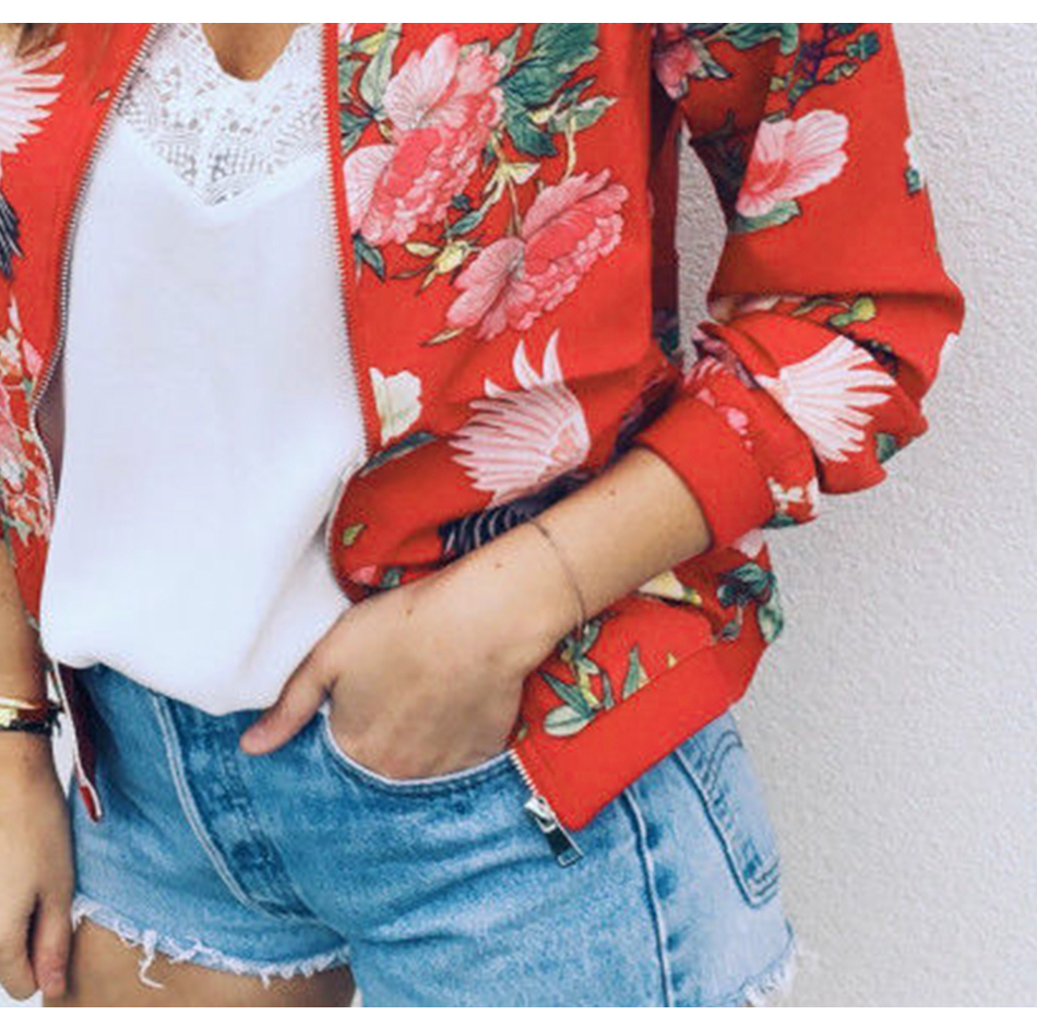 HTB1PyogSrvpK1RjSZFqq6AXUVXaz Bomber Jacket Women Floral Print Plus Size Coat Spring Summer Ladies Casual Classic O-Neck Long Sleeve Outwears Basic Coats